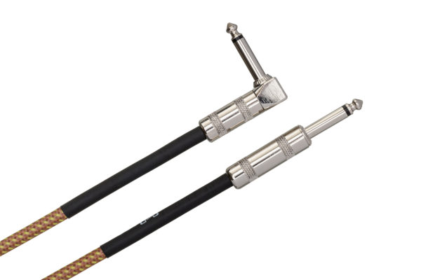 GTR-518R Tweed Guitar Cable Straight to Right-angle connectors on white background