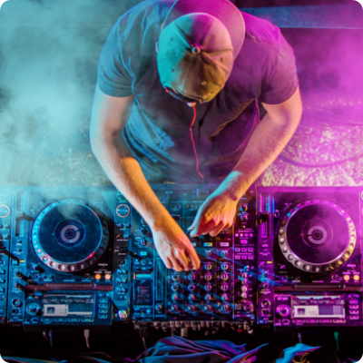 DJ Spinning with Mixing Equipment